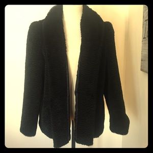 Vintage Faux Fur Black Evening Coat